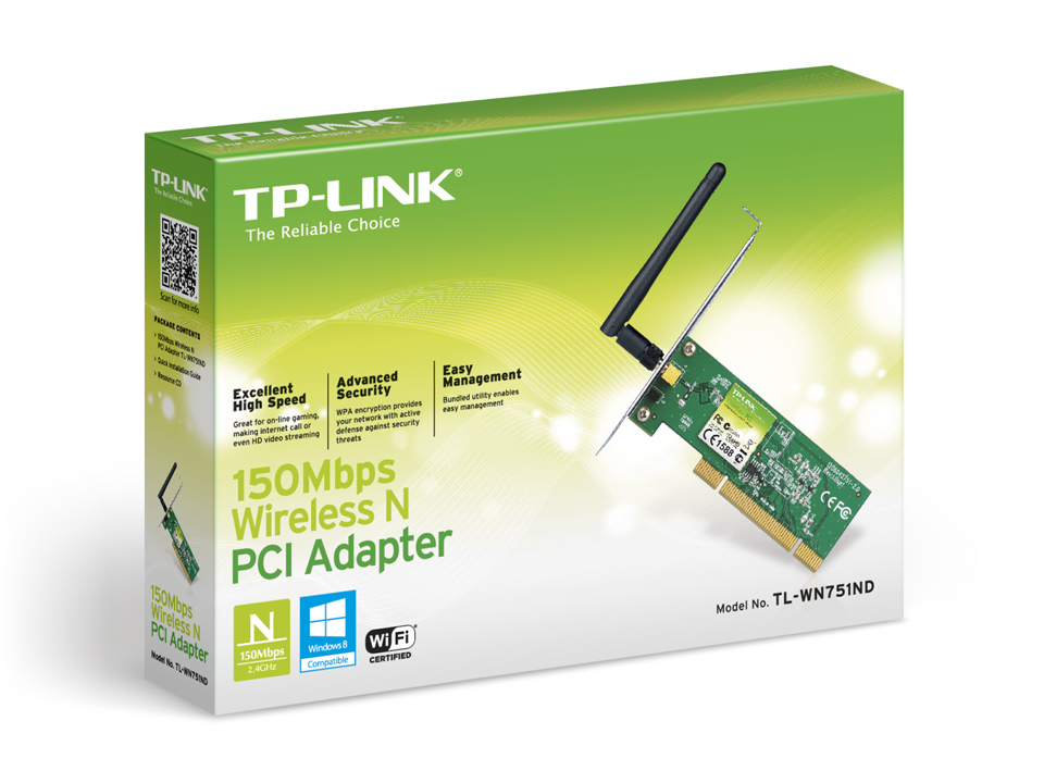 Placa De Rede Pci Wireless 150mbps Tp-link Tl-wn751nd