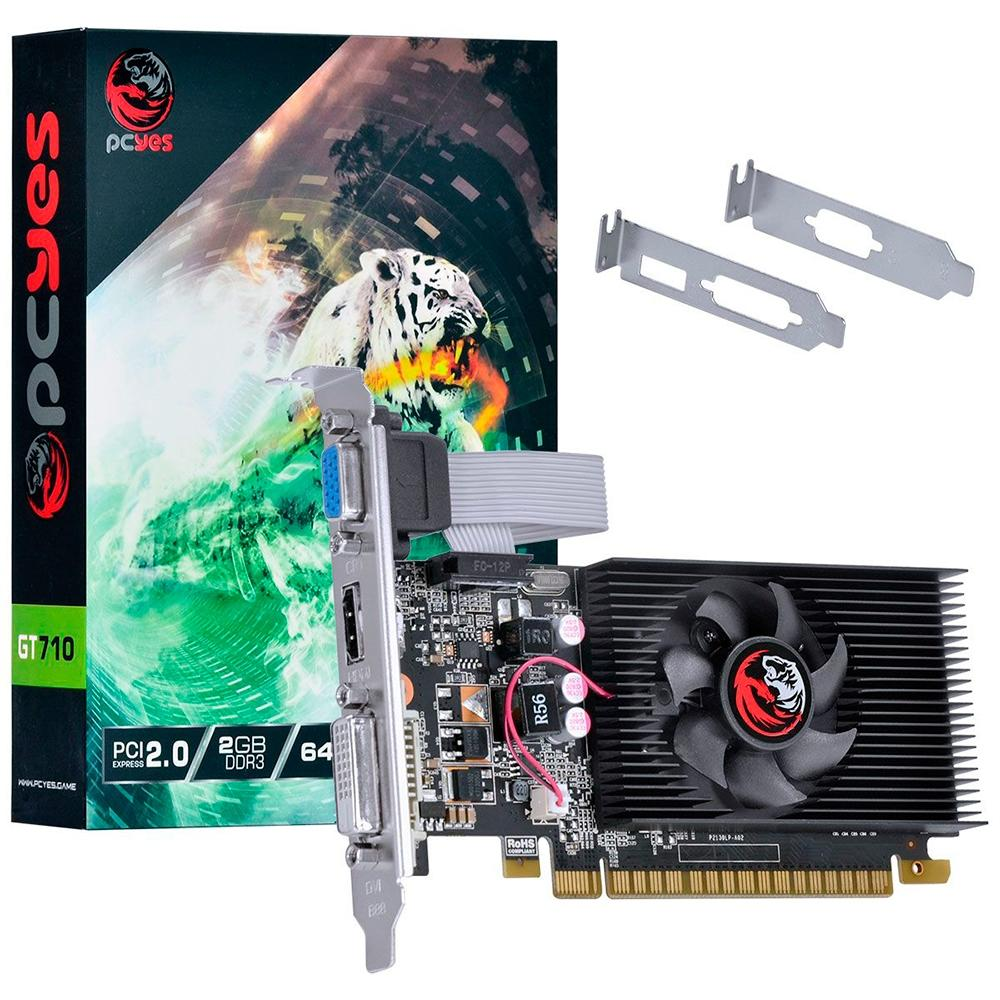 Placa De Video Gt710 2gb Ddr3 Pci-e Low Profile Pcyes Pa710gt6402d3lp